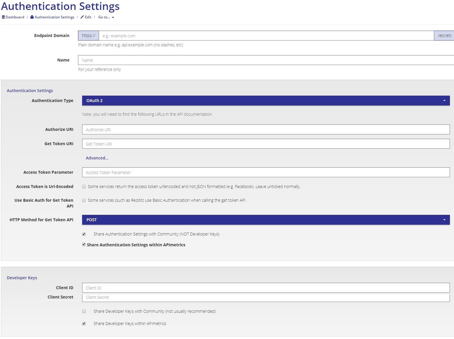 API Authentication Settings
