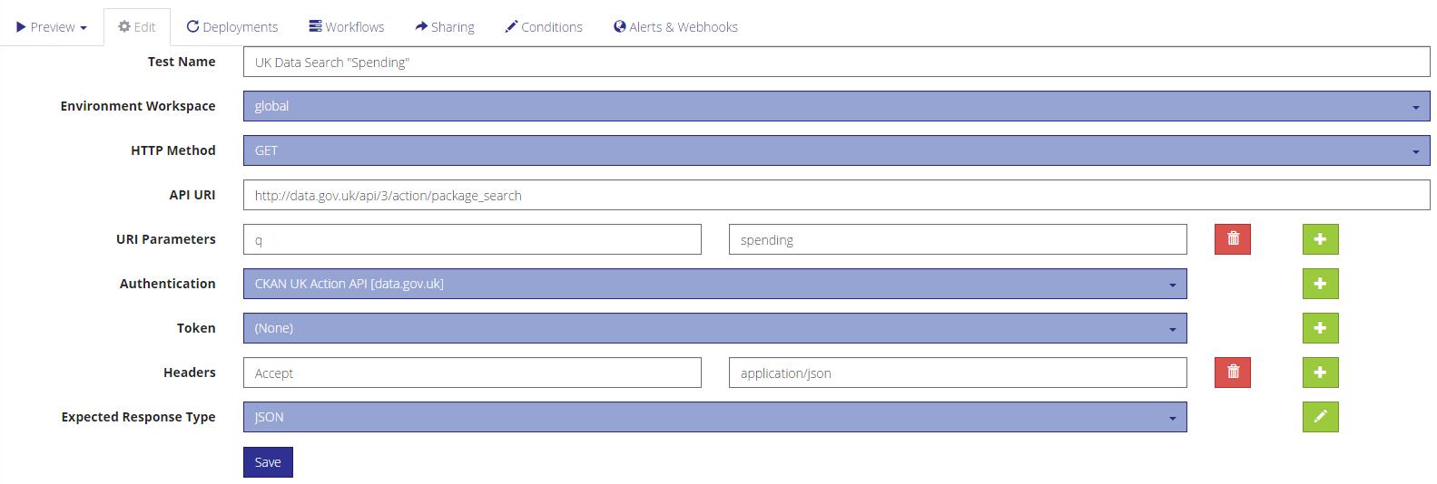 Visual editor for API calls