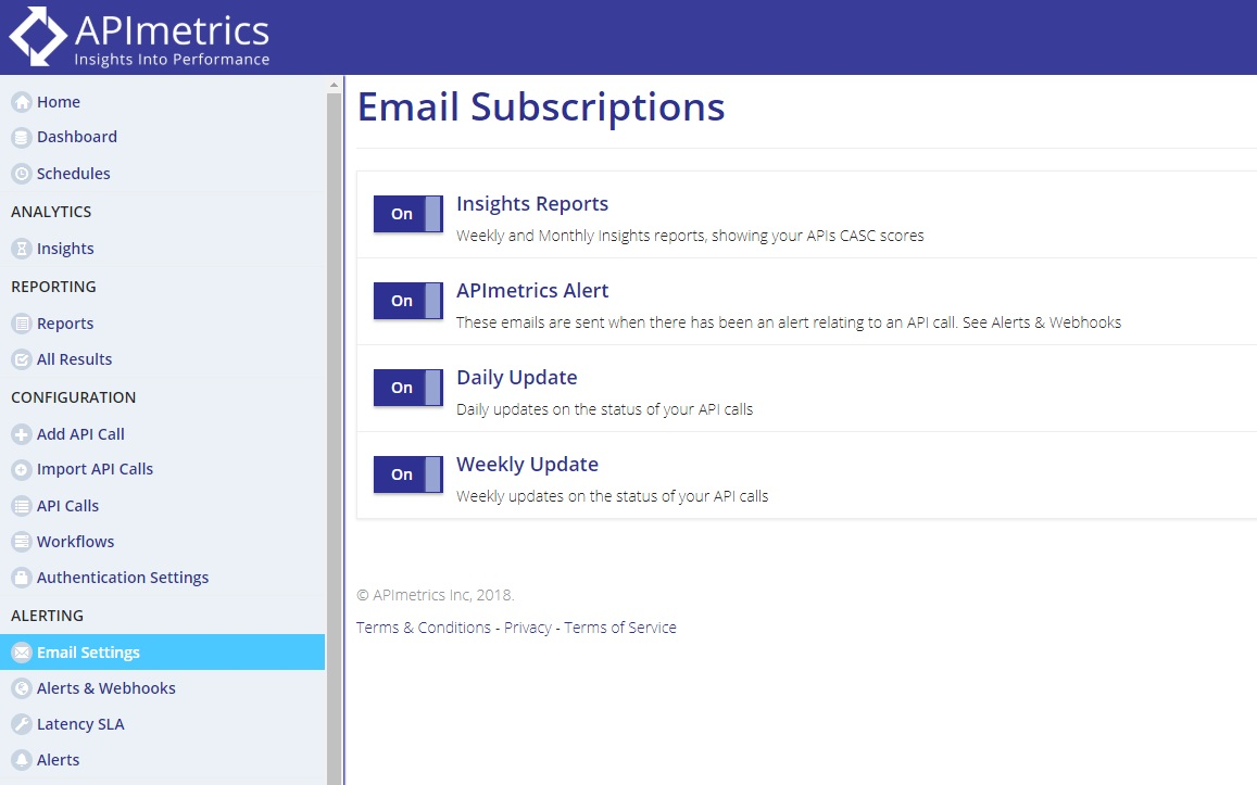 APImetrics email settings