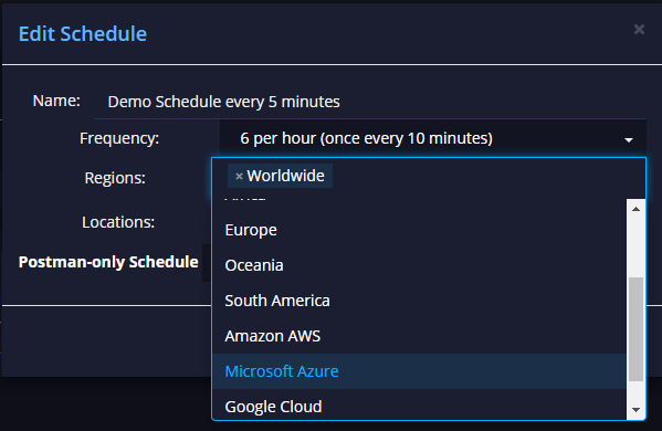 API schedule regions