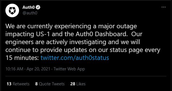 auth0 API outage