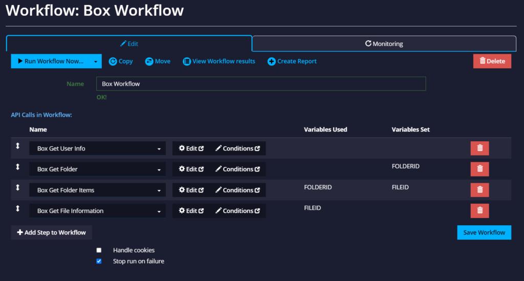 API Monitoring Workflow editor